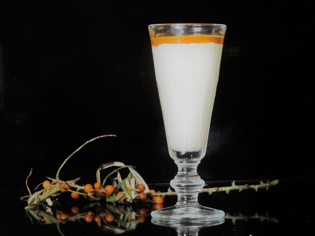 Sea Buckthorn Sauce can be used on its own or as an ingredient for other recipes…the creamy Sea Buckthorn Posset below is delicious.